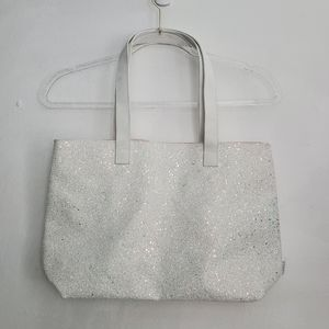 Clinique White Textured Glitter Tote & Makeup Bag